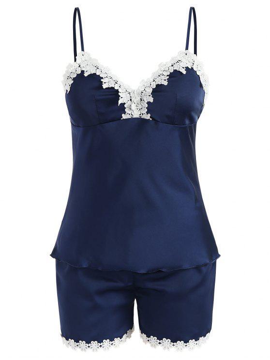 women Removable Pad Sleep Camisole Set - BLUE JAY XL