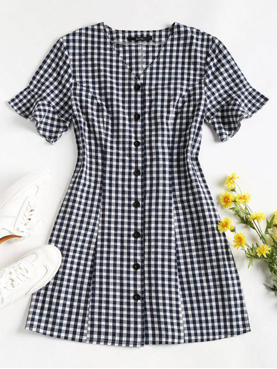 fancy Button Up Gingham Mini Dress - MIDNIGHT BLUE S