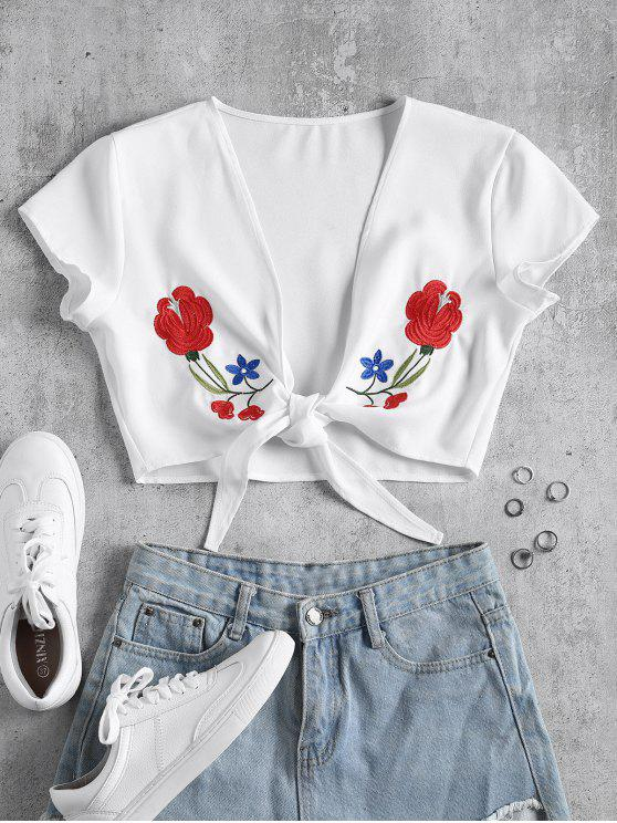 fashion Tie Front Floral Embroidered Top - WHITE XL