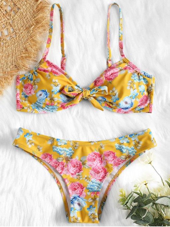 مجموعة الأزهار بووتي بيكيني - بني ذهبي L