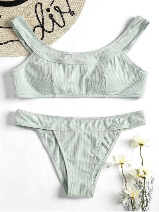 buy Ribbed Bikini Set - FROG GREEN S