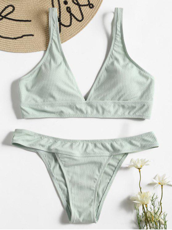 Bikini Imbottito A Costine - Verde Rana  S