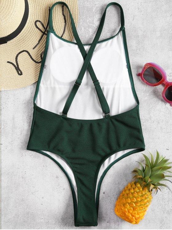 Costume Da Bagno A Coste Con Taglio Alto - Verde Mare Medio  L