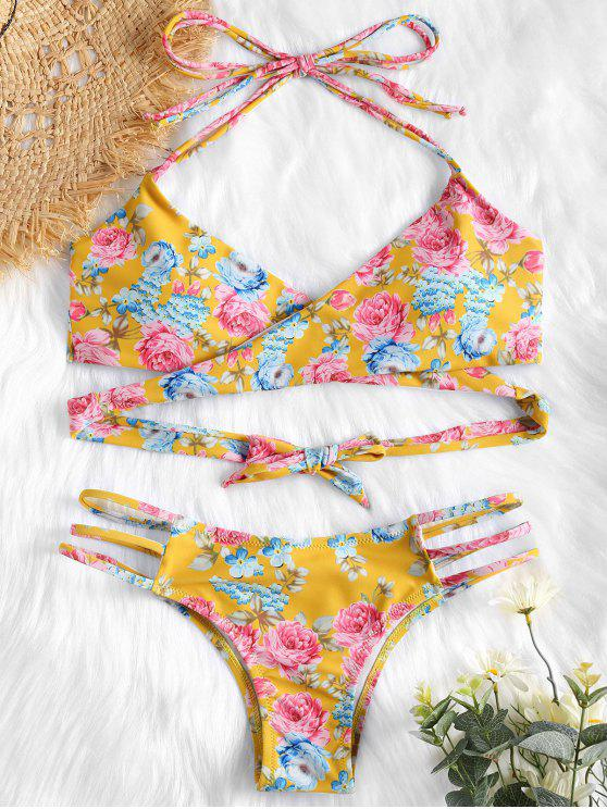 latest Halter Floral Wrap Bikini Top and Caged Bottoms - GOLDEN BROWN M