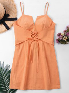 Corset Waist Mini Dress - Orangepink L