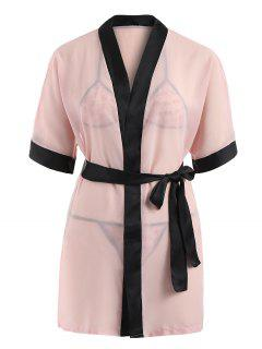 Sleep Wrap Robe And Mesh Bra Suit - Lipstick Pink