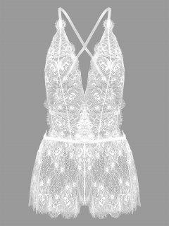 Sheer Lace Low Cut Halter Bodysuit - White