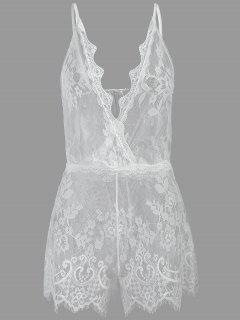 See Through Plunge Lacy Bodysuit - Blanco