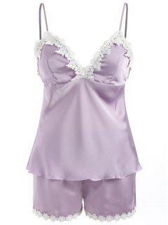 Removable Pad Sleep Camisole Set - Purple Sage Bush M