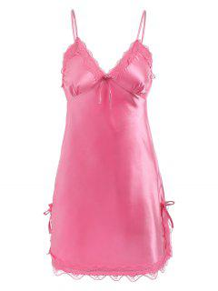 Lace Panel Sleepwear Chemise - Watermelon Pink Xl