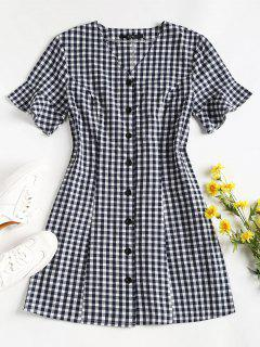 Button Up Gingham Mini Dress - Midnight Blue L