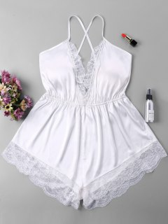 Plunging Open Back Romper - White Xl