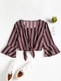 Cropped Ties Stripes Top - Deep Coffee L