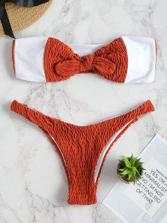 Shirred Padded Bandeau Bikini Set - Shocking Orange M