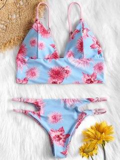 Lace Up Floral Cut Out Bikini Set - Light Sky Blue M