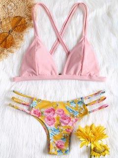 Criss-Cross Floral Ladder Cut Bikini - Pink S
