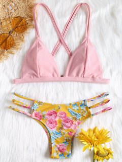 Criss-Cross Floral Ladder Cut Bikini - Pink L