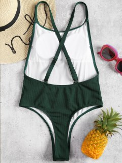 Ribbed Convertible High Cut Swimsuit - Medium Sea Green M