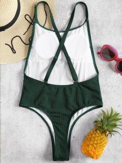 Ribbed Convertible High Cut Swimsuit - Medium Sea Green M