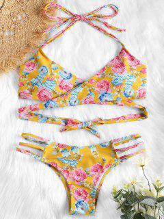 Halter Floral Wrap Bikini Top And Caged Bottoms - Golden Brown M