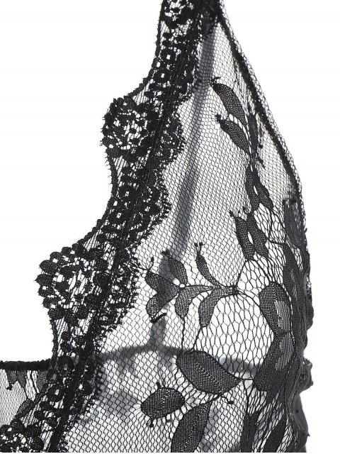 See Through Plunge Lacy Bodysuit - Negro Talla única Mobile