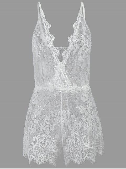 See Through Plunge Lacy Bodysuit - Blanco Talla única Mobile