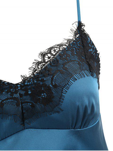 Conjunto de Pijamas de Cetim de Guarnição de Renda - Aço Azul 2XL Mobile