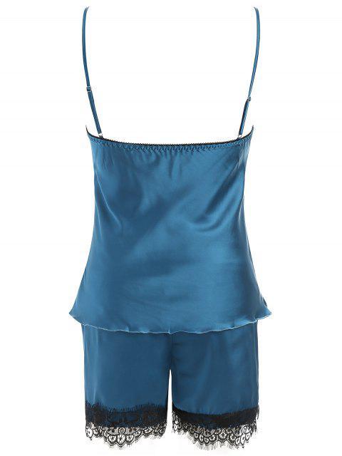 latest Lace Trim Satin Short Pajamas Set - STEEL BLUE 2XL Mobile