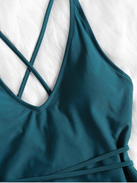 fashion Self Tie Cross Back High Cut Swimsuit - GREENISH BLUE S Mobile