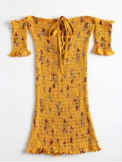 shop Floral Shirred Off Shoulder Mini Dress - BRIGHT YELLOW ONE SIZE Mobile