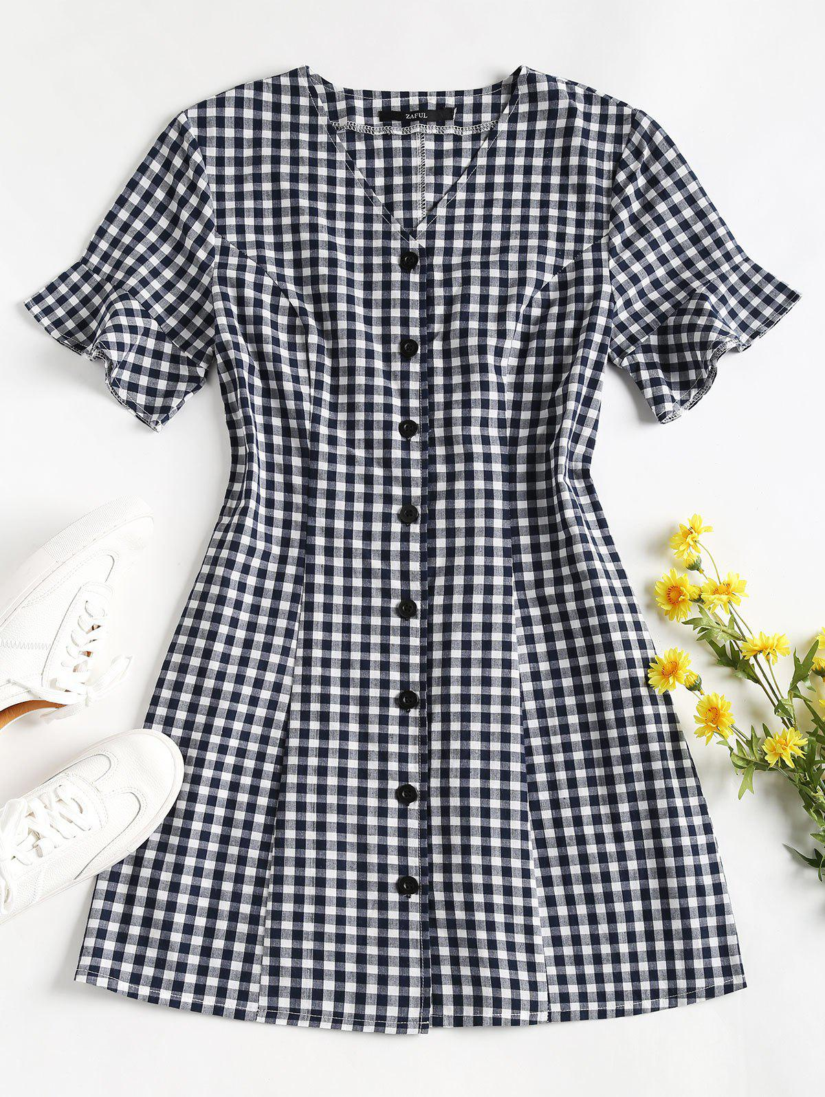 Button Up Gingham Mini