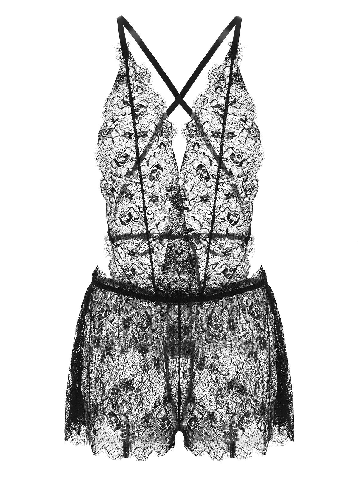 Sheer Lace Low Cut Halter Bodysuit 259859301