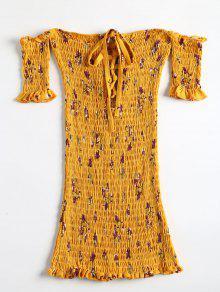 فستان مصغر طباعة الأزهار بلا اكتاف - أصفر فاقع