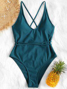 الذاتي التعادل عبر العودة السامي قص ملابس السباحة - ازرق مخضر S
