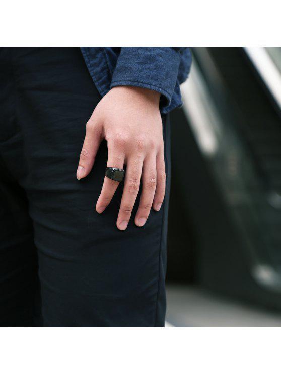 Joyería del anillo de dedo redondo geométrico para el hombre - Negro 10