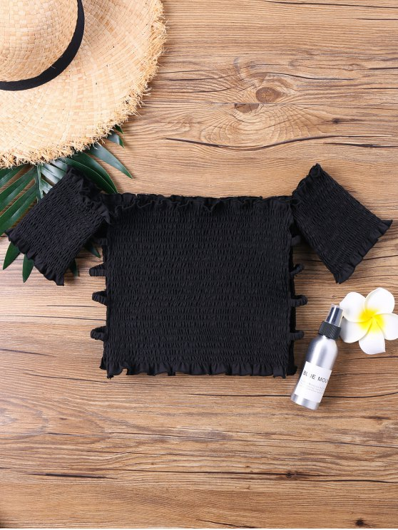 shop Off Shoulder Smocked Cut Out Crop Top - BLACK M