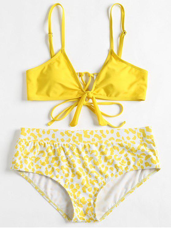 latest Cami Plus Size Printed Bikini - YELLOW 1X