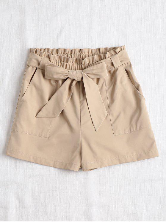 Pantalones cortos con cinturón y volantes de cintura alta - Caqui Claro L