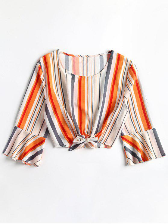 sale Cropped Ties Stripes Top - WHITE XL