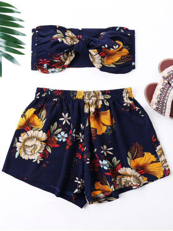 outfits Flower Print Mini Tube Top and Shorts - NAVY BLUE L