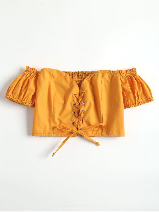 Top corto de cordones con hombros descubiertos - Amarillo Brillante L