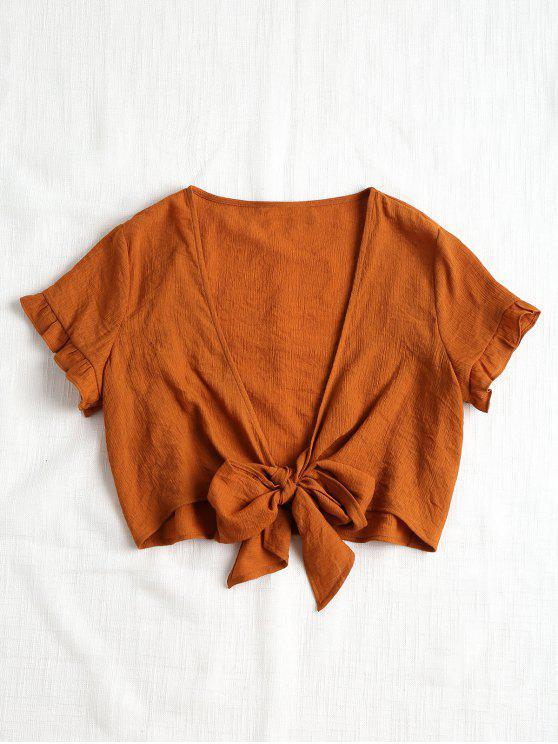women Plunging Neck Crop Tied Hem Blouse - BROWN M