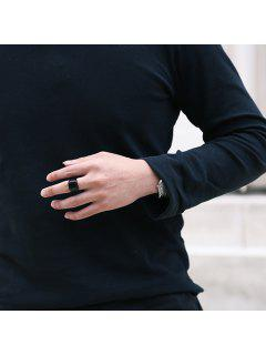 Geometric Finger Round Ring - Black 9