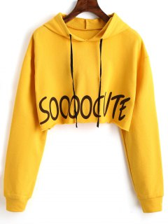 Letter Graphic Drawstring Crop Hoodie - Yellow M