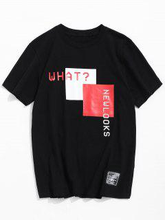 Short Sleeves Letter Print Tee - Black M