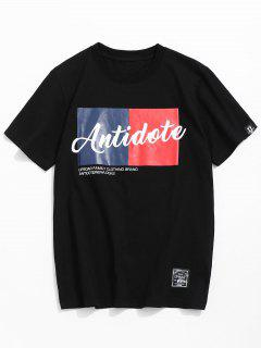 Casual Letter Print Cotton Tee - Black M