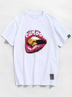 Letter Mouth Pattern Cotton Tee - White Xl