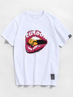 Camiseta De Algodón De Patrón De Boca De Letra - Blanco 2xl