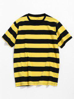 Striped Short Sleeve Tee - Yellow L