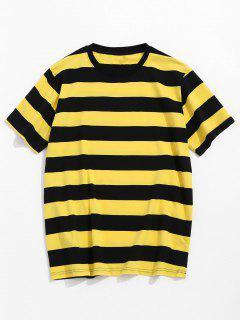 Camiseta De Manga Corta A Rayas - Amarillo Xl